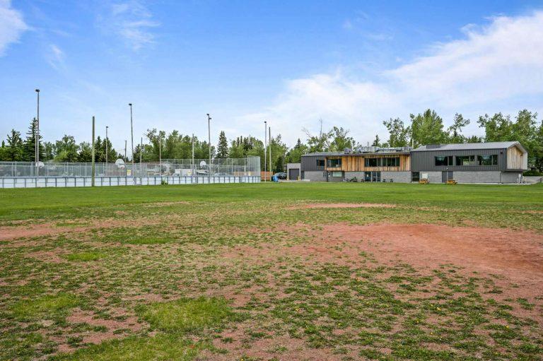 Rear of building, Hockey Rink, Lacrosse Court, sports field