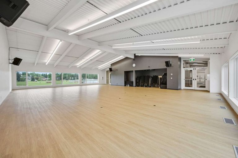 The North Hall is perfect for high-impact activities like Weddings and Dance Classes. Room includes food services area.